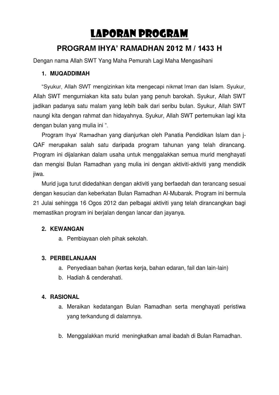 Laporan Ihya Ramadhan 2012 By Zatul Itri Issuu