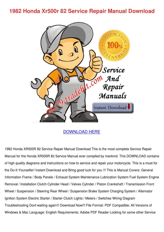 1982 Honda Xr500r 82 Service Repair Manual Do By Kattie