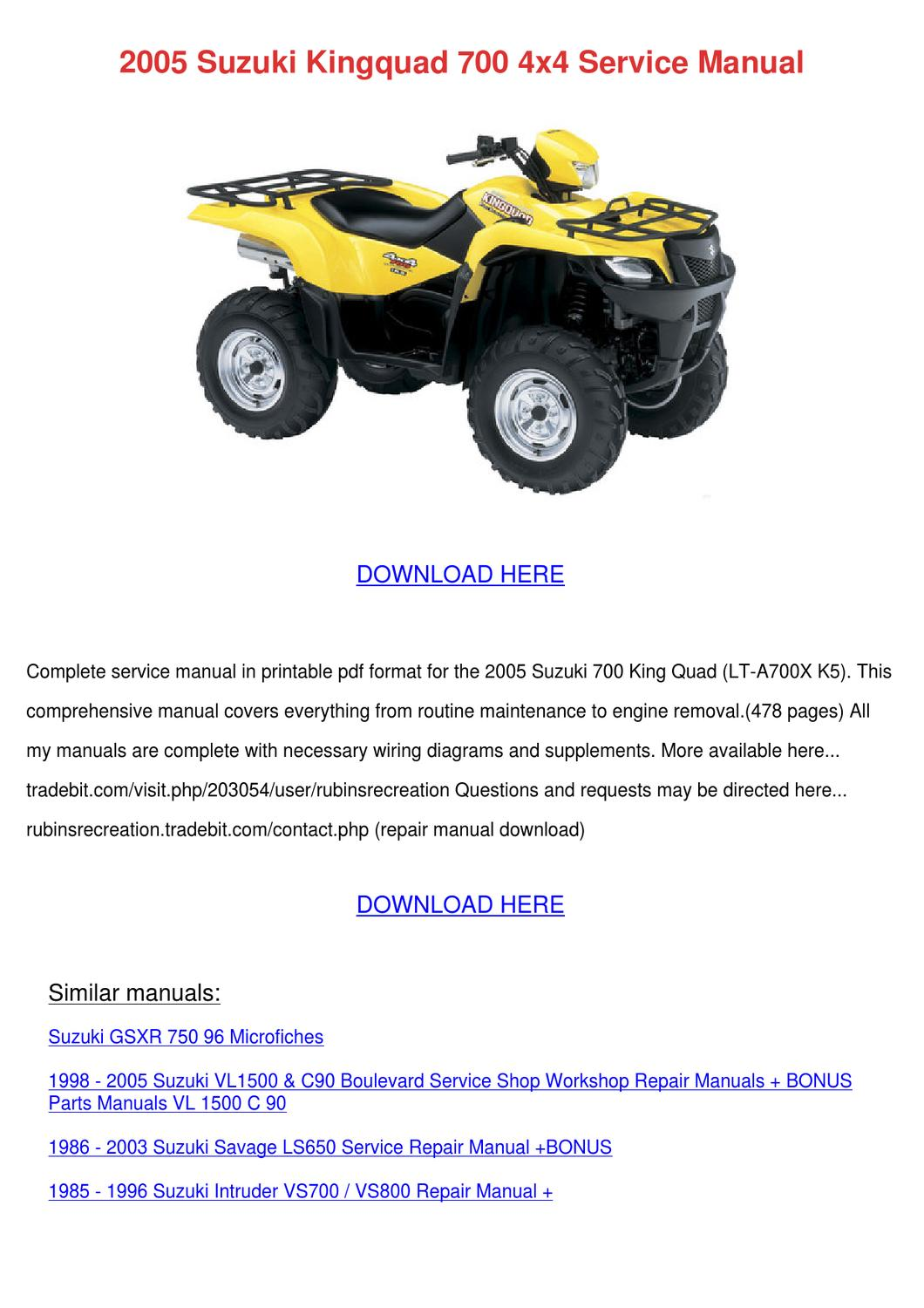 2005 Suzuki Kingquad 700 4x4 Service Manual By Kattie