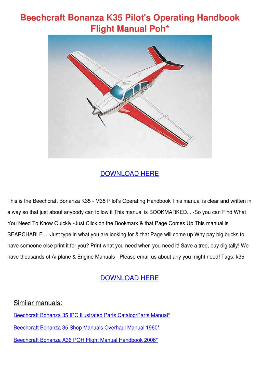 Beechcraft Bonanza K35 Pilots Operating Handb by Kattie Macedonio - issuu