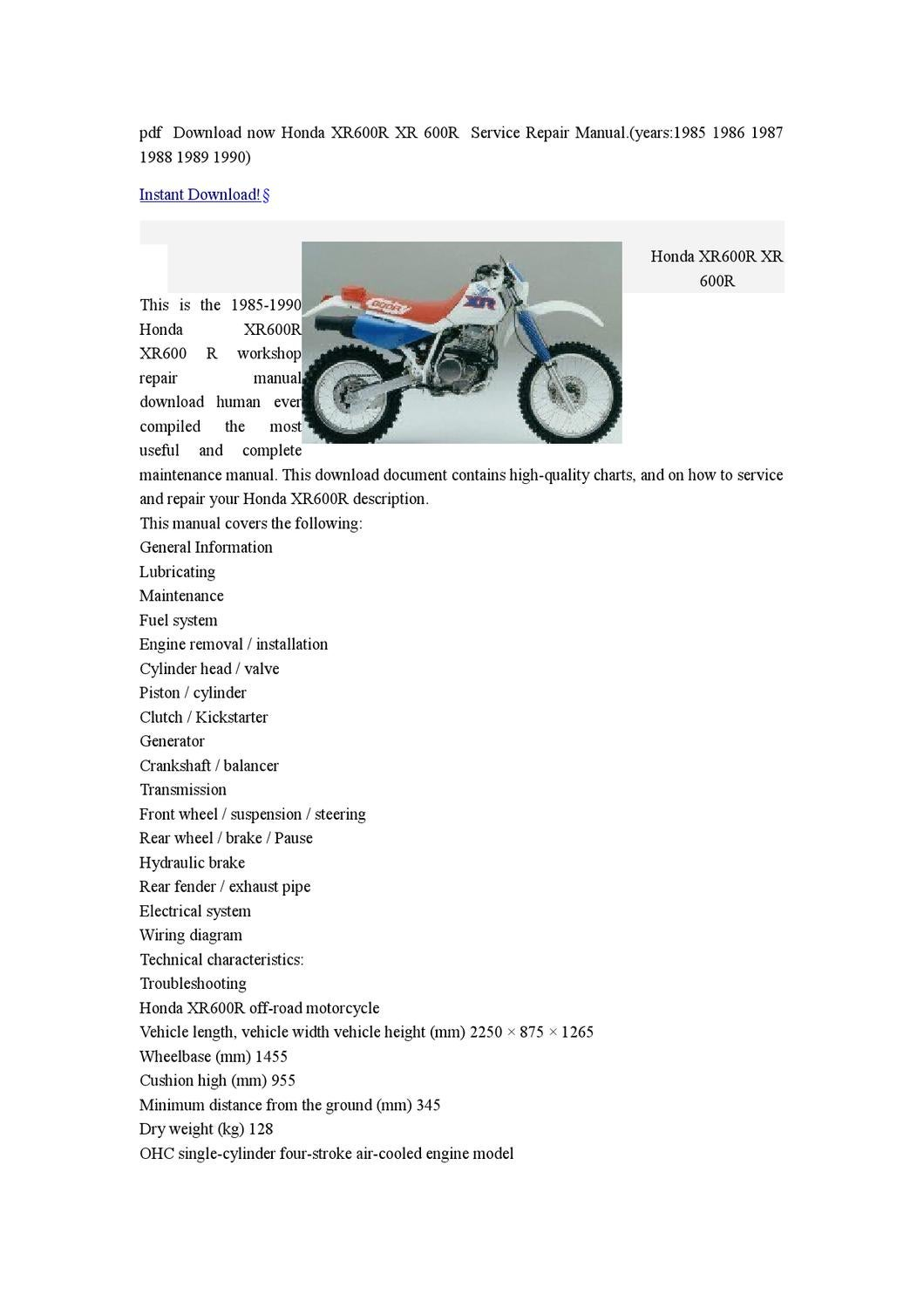 1985 1986 1987 1988 1989 1990 Honda Xr600r Xr 600r Workshop Service Repair Manual Download By