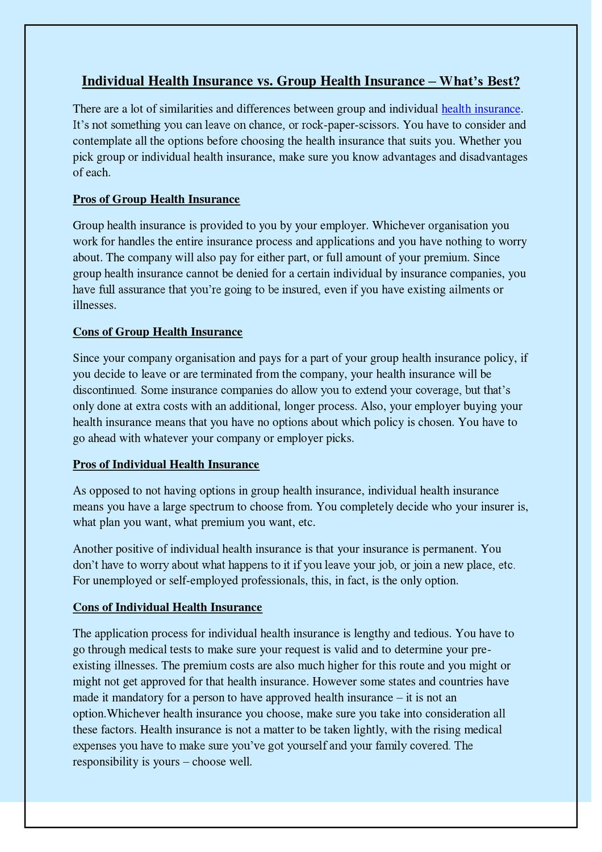Individual Health Insurance >> Individual Health Insurance Vs Group Health Insurance