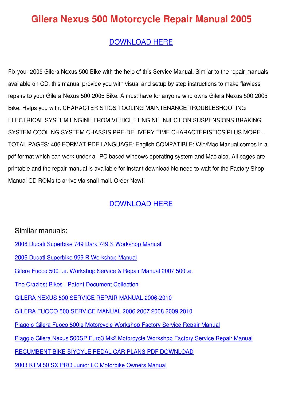 gilera nexus 500 motorcycle repair manual 200 by janay grogan issuu rh issuu com Gilera Logo Gilera USA