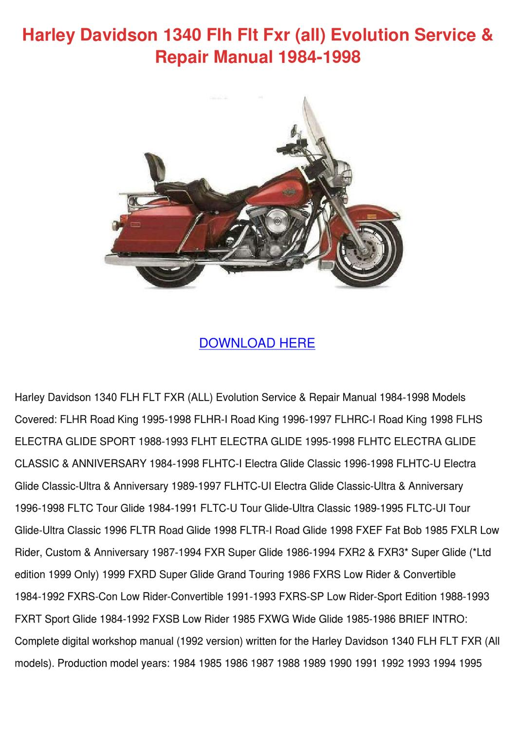 ... page_1 harley davidson 1340 flh flt fxr all evolutio by janay grogan  issuu FLHS Fender Skirt Flh 92 Wiring Diagram ...