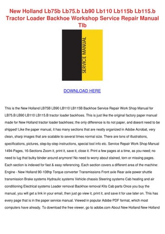 new holland lb75b lb75b lb90 lb110 lb115b lb1 by ngan sobran issuu rh issuu com new holland lb75b service manual free download New Holland LB75B