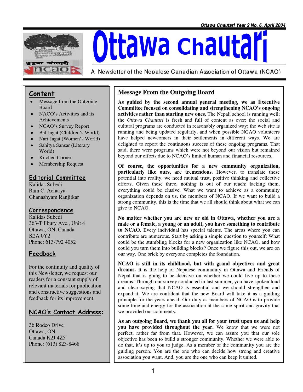 Ottawa Chautari - Volume 6 (April 2004) by NCAO Canada - issuu