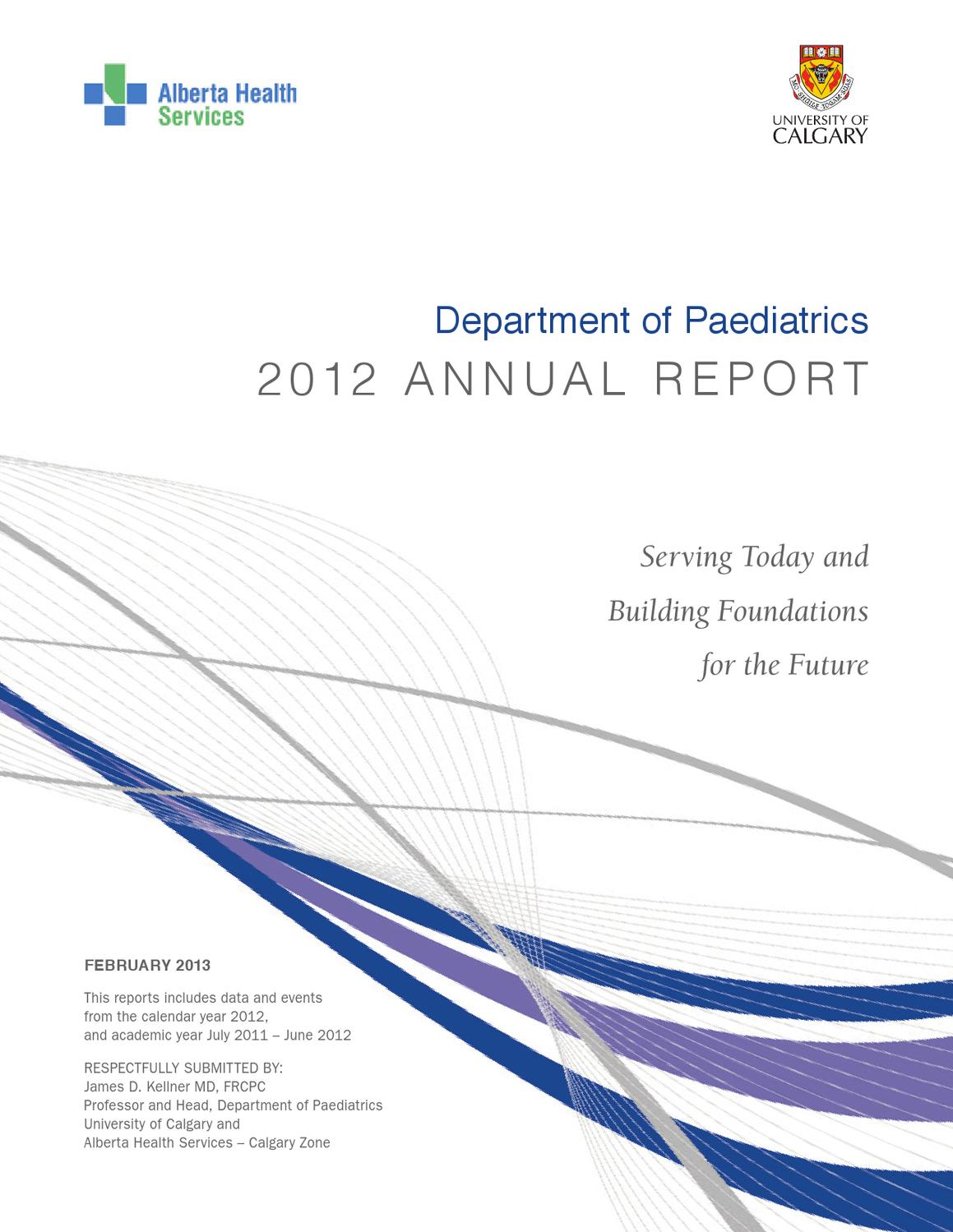 Paediatric Dept  Annual Report - 2012 by Department of Paediatrics