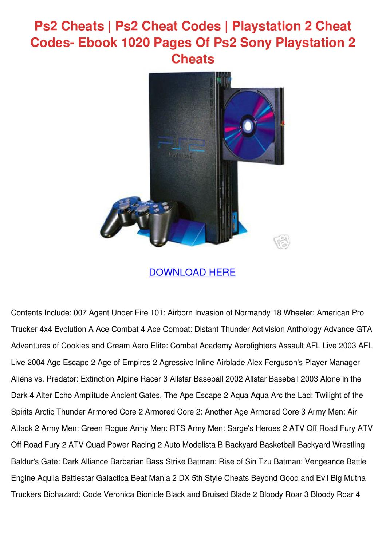 Ps2 Cheats Ps2 Cheat Codes Playstation 2 Chea by Suzanna Onishea ...