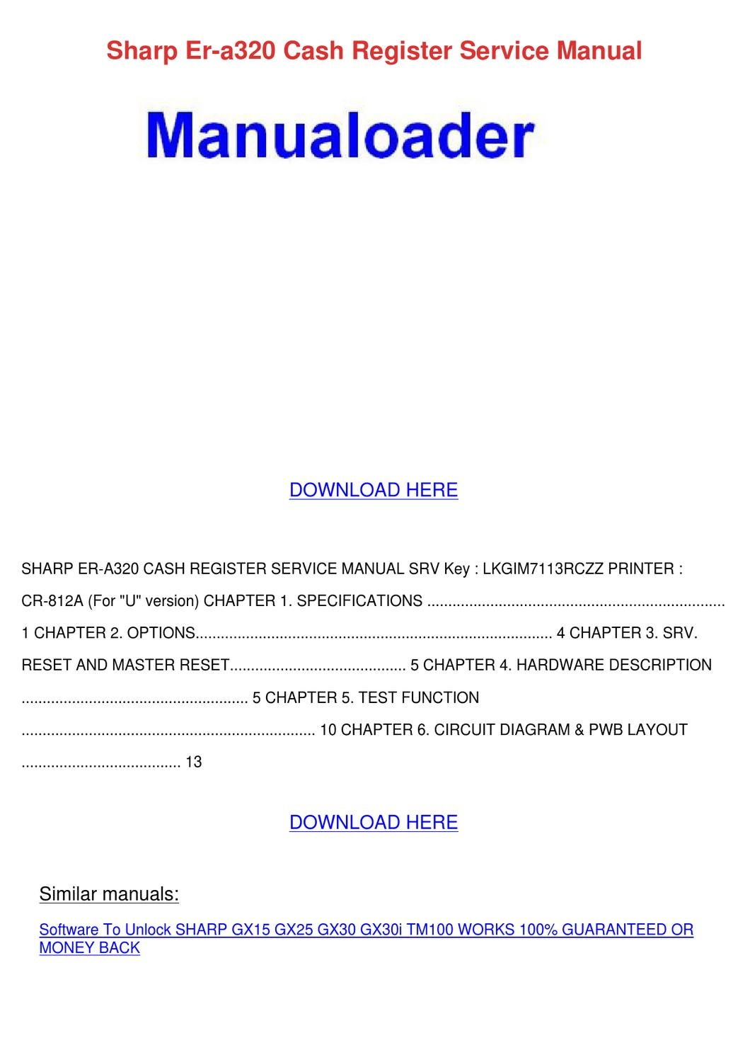 Sharp Er A320 Cash Register Service Manual By Suzanna