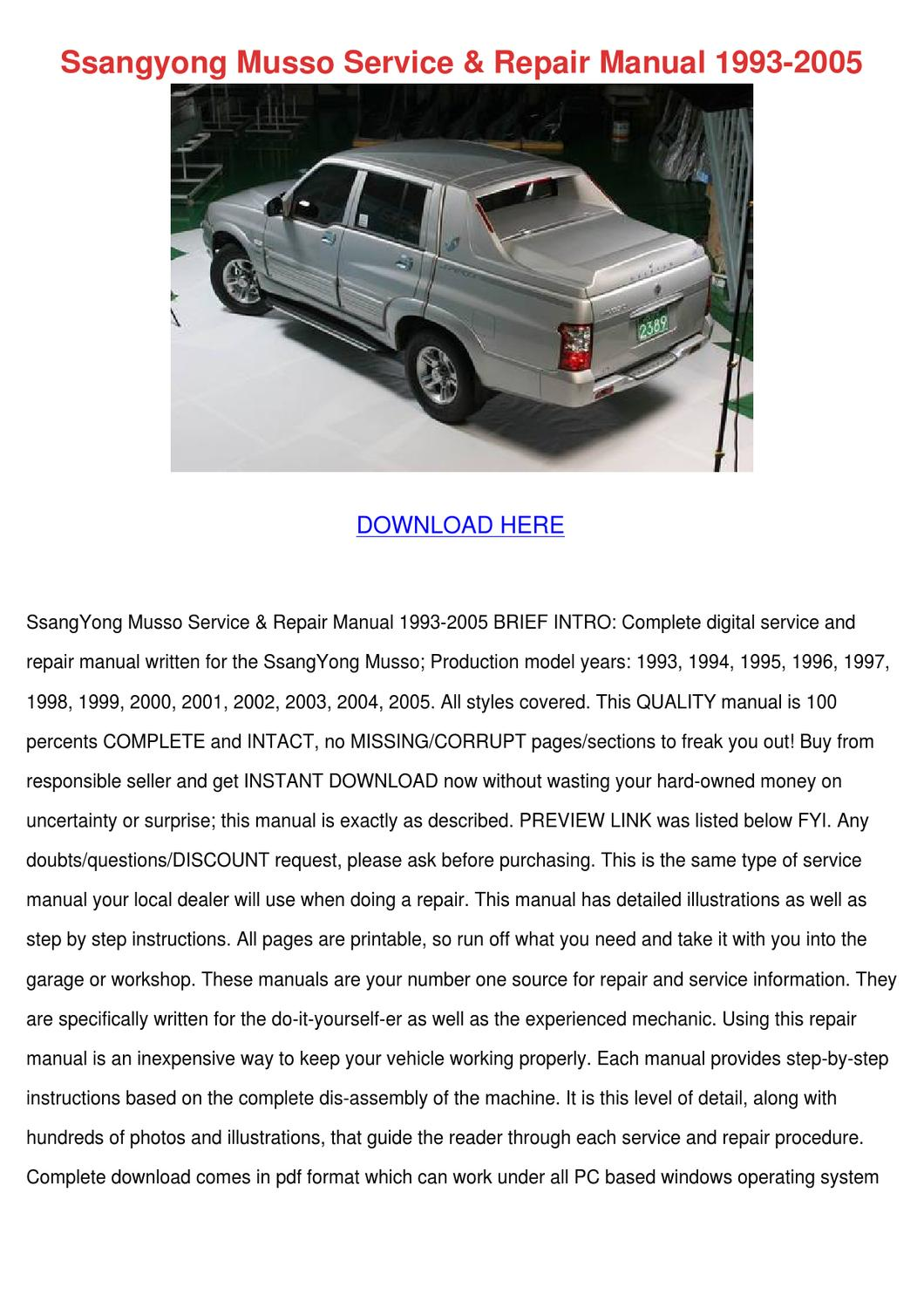 Ssangyong musso service repair manual 1993 20 by suzanna onishea issuu solutioingenieria Images