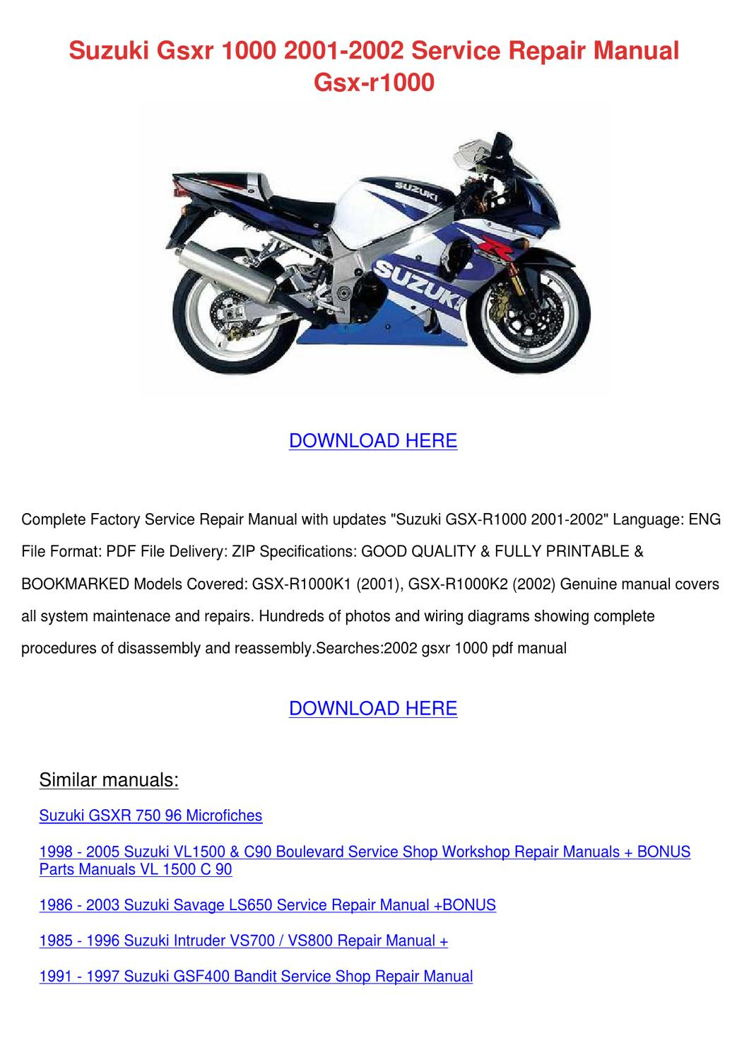suzuki gsxr 1000 2001 2002 service repair man by barbera cutten issuu