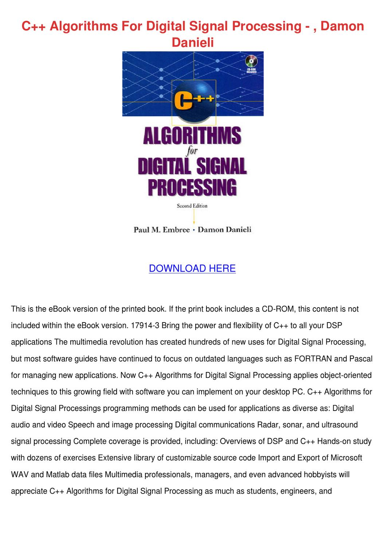 C algorithms for digital signal processing download