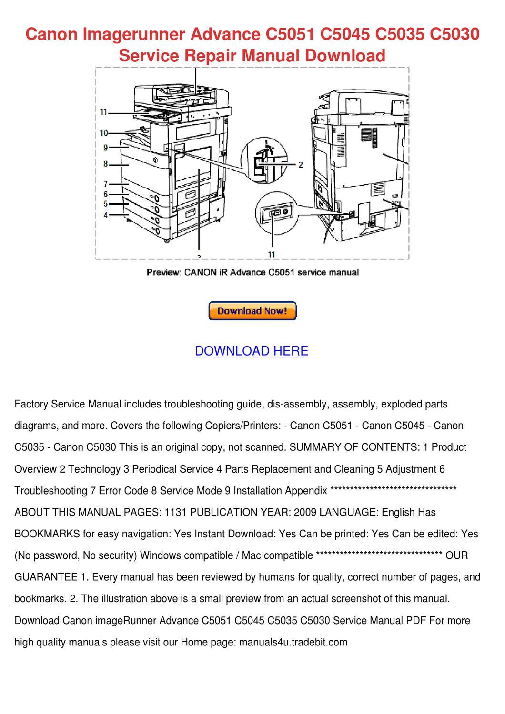 Canon Imagerunner Advance C5051 C5045 C5035 C by Johnie Banaszak ...