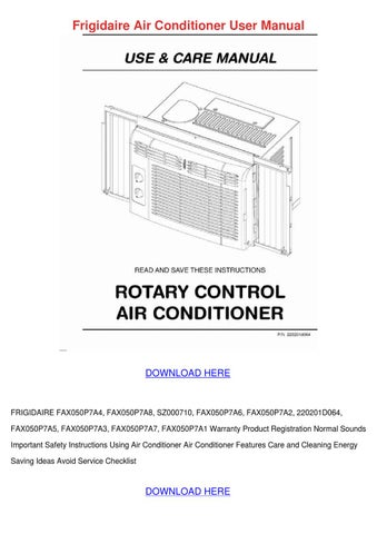 Frigidaire Air Conditioner User Manual by Althea Ondrusek - Issuu