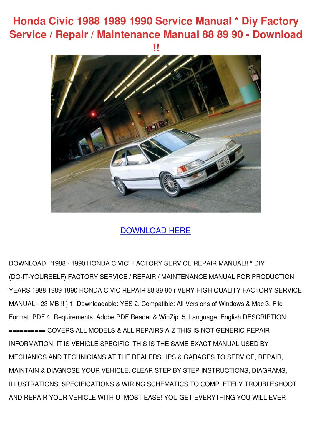 honda civic 1988 1989 1990 service manual diy by althea ondrusek issuu