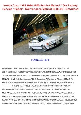 honda civic 1988 1989 1990 service manual diy by althea ondrusek issuu