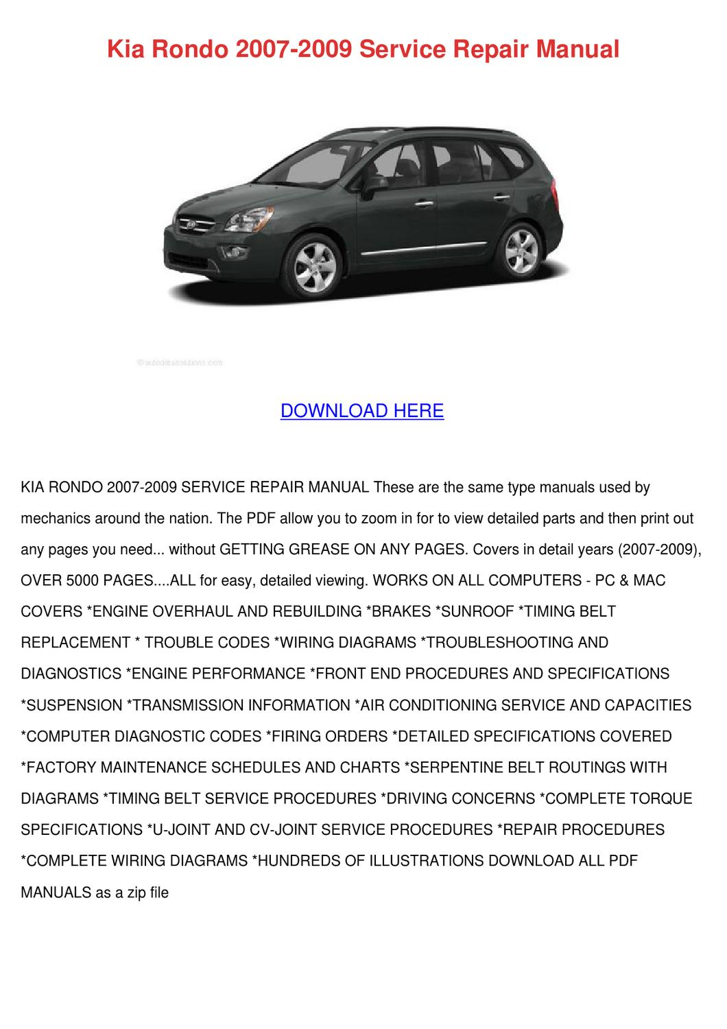 kia rondo 2007 2009 service repair manual by mindy lufsey. Black Bedroom Furniture Sets. Home Design Ideas