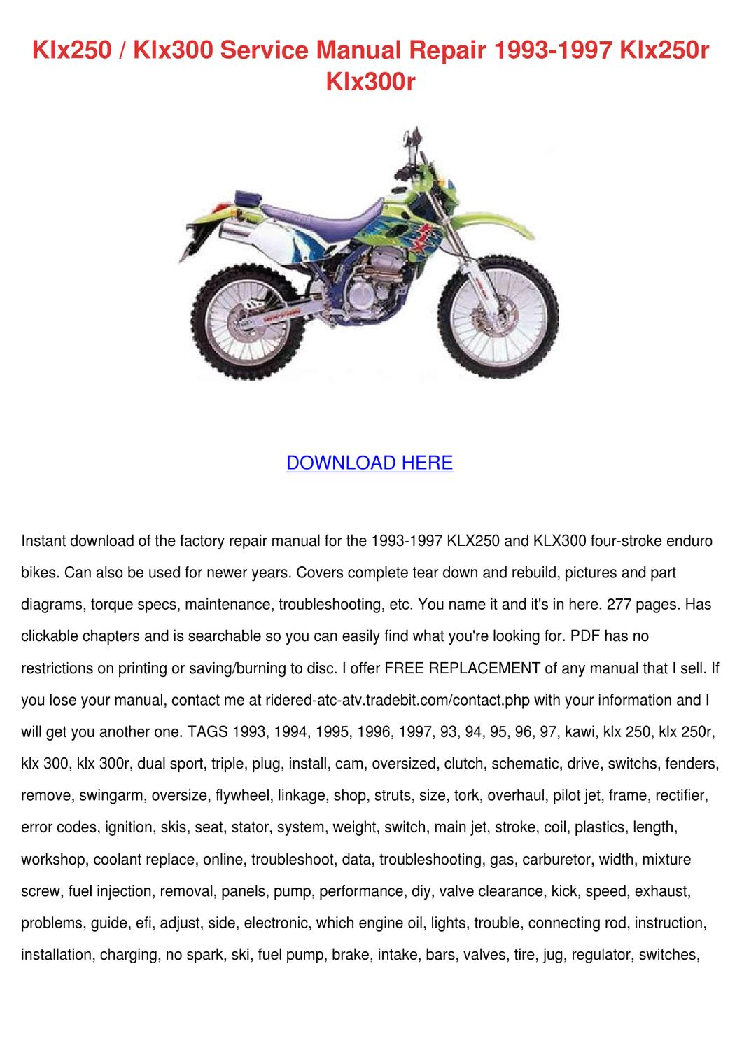 Klx250 Klx300 Service Manual Repair 1993 1997 By Mindy Lufsey Issuu