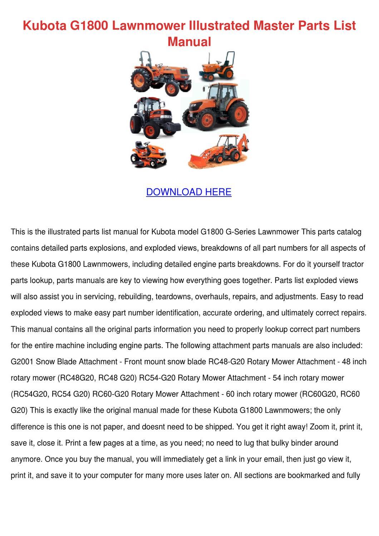 Kubota G1800 Lawnmower Illustrated Master Par by Mindy Lufsey - issuu