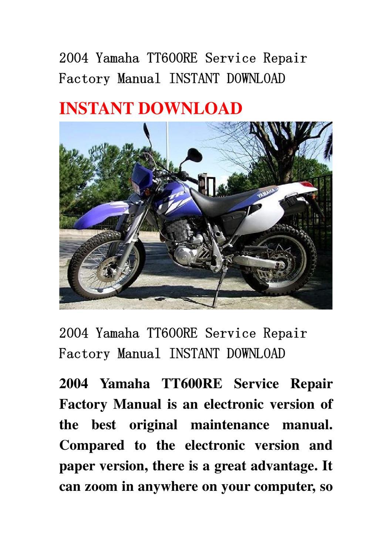 2004 Yamaha Tt600re Service Repair Factory Manual Instant