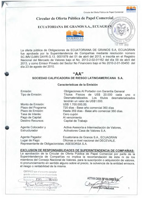 Prospecto Ecuatoriana de Granos S.A by Bolsa de Valores de Quito ...