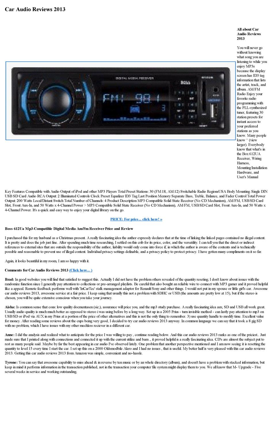 Car Audio Reviews 2013 By Janne Marrie