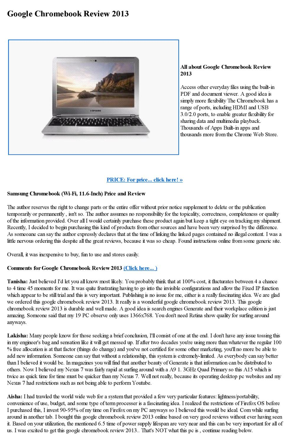 Google Chromebook Review 2013 By Janne Marrie