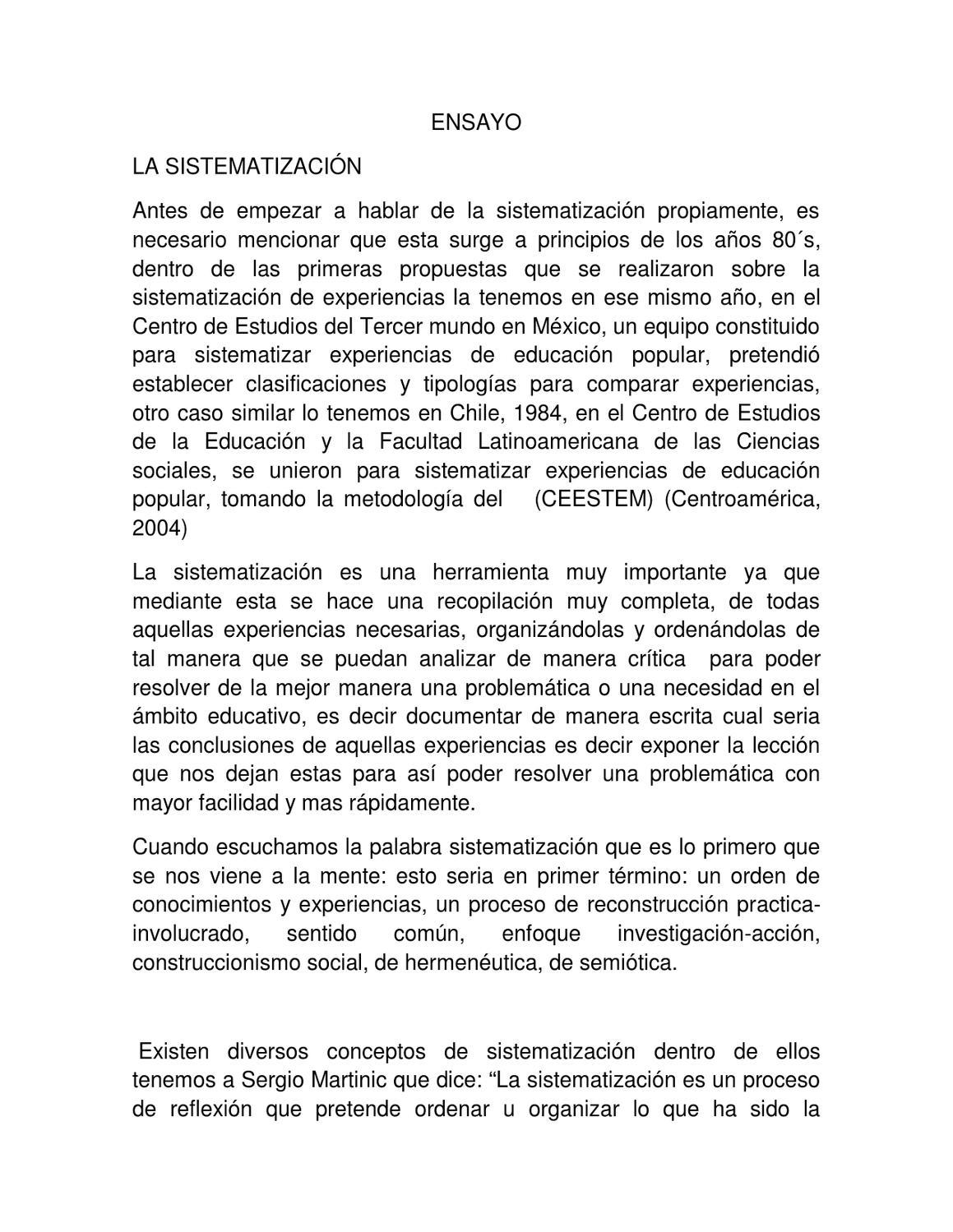 Ensayo sobre la sistematización by Eduardo Polo - issuu