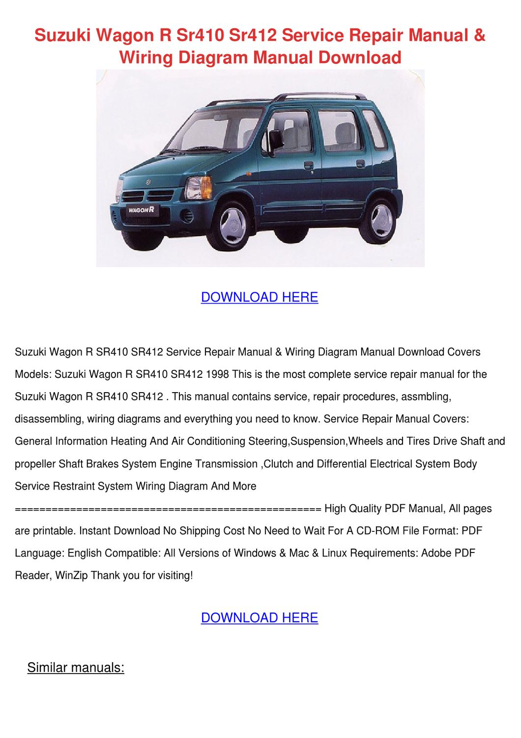 Suzuki Wagon R Sr410 Sr412 Service Repair Man By Yadira Angeli Issuu 1982 Motorcycle Wiring Diagrams