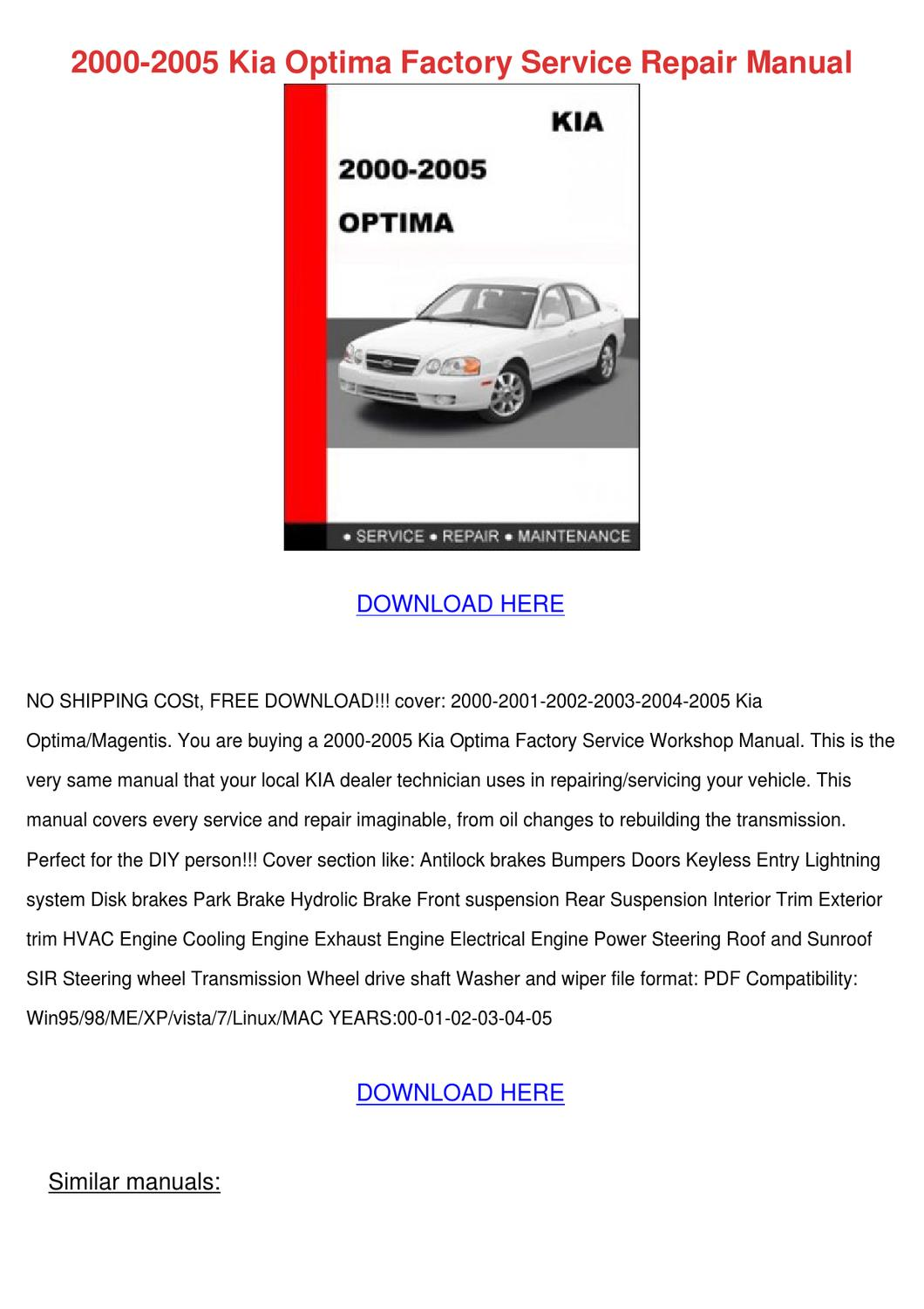 2005kia Optima manual