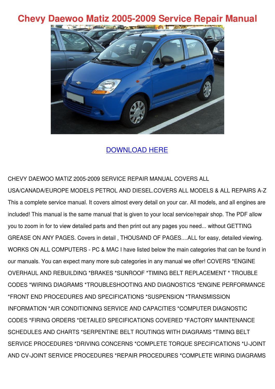 Chevrolet Matiz 2009 Manual Pdf Kostenloser Download Pdf Comple Zu