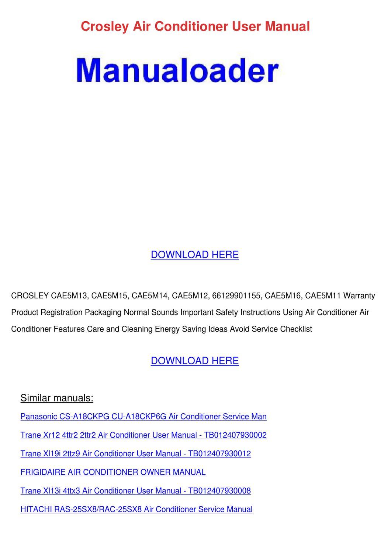 Crosley Air Conditioner User Manual By Setsuko Mckinnies