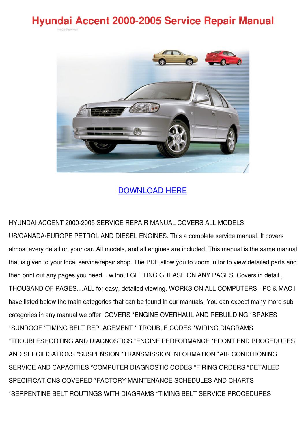 Hyundai Accent 2000 2005 Service Repair Manua By Norene Jeffry Issuu Verna Wiring Diagram