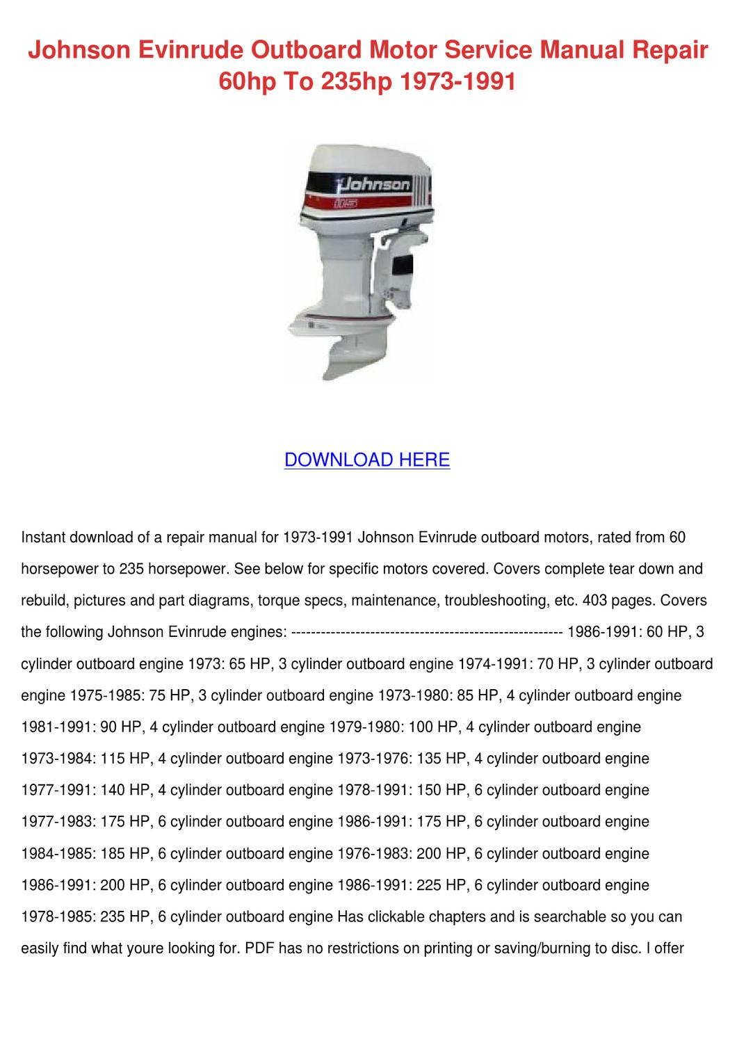 Johnson Evinrude    Outboard    Motor Service Manua by Norene