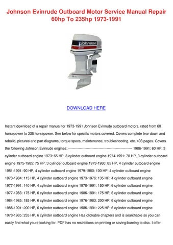 Johnson evinrude outboard motor service manua by norene for 15 hp motor weight