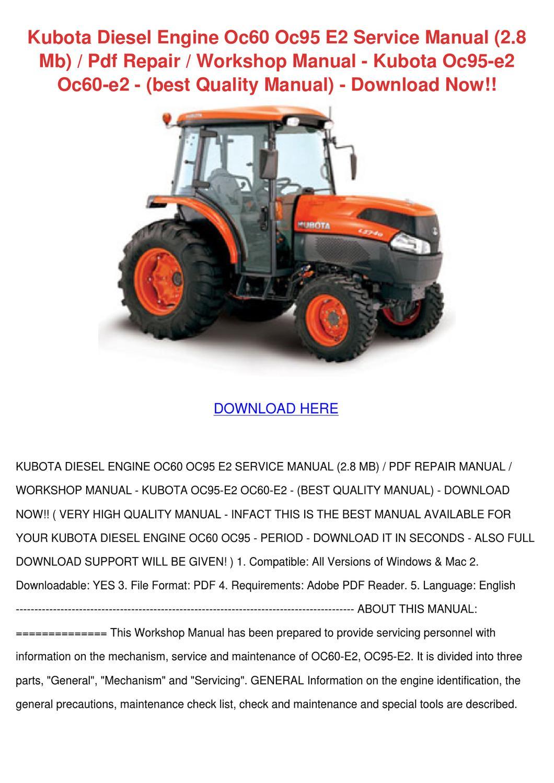 Kubota Diesel Engine Oc60 Oc95 E2 Service Man By Norene