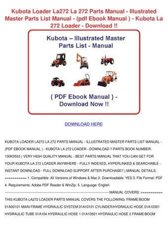 kubota loader la272 la 272 parts manual illus