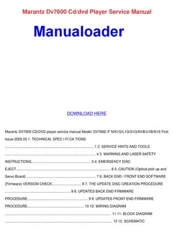 Marantz dv7600 cddvd player service manual by norene jeffry issuu marantz dv7600 cddvd player service manual fandeluxe Image collections