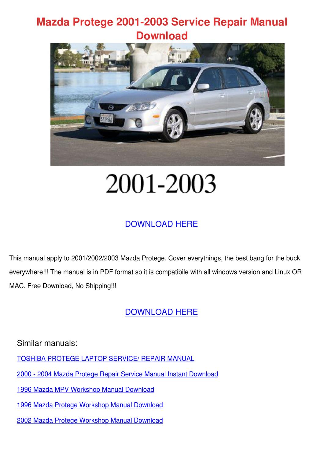 Mazda Protege - Owner s Manual - PDF ( Pages)