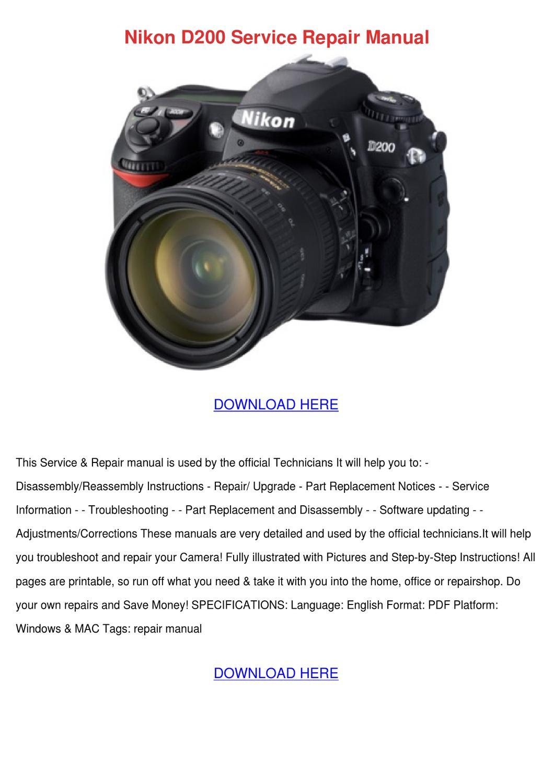 Nikon D200 Service Repair Manual by Norene Jeffry - issuu