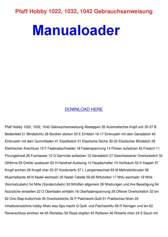 Pfaff Hobby 1022 1032 1042 Gebrauchsanweisung by Letha Barreneche ...