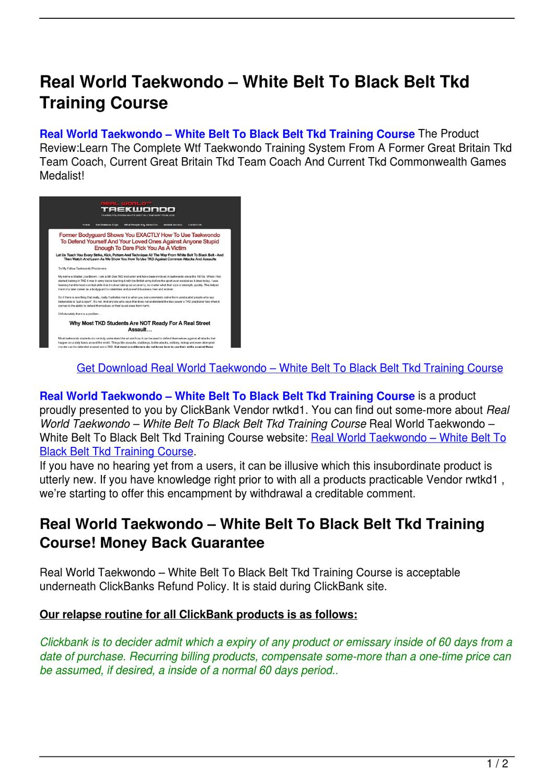 Real World Taekwondo White Belt To Black Belt Tkd Training