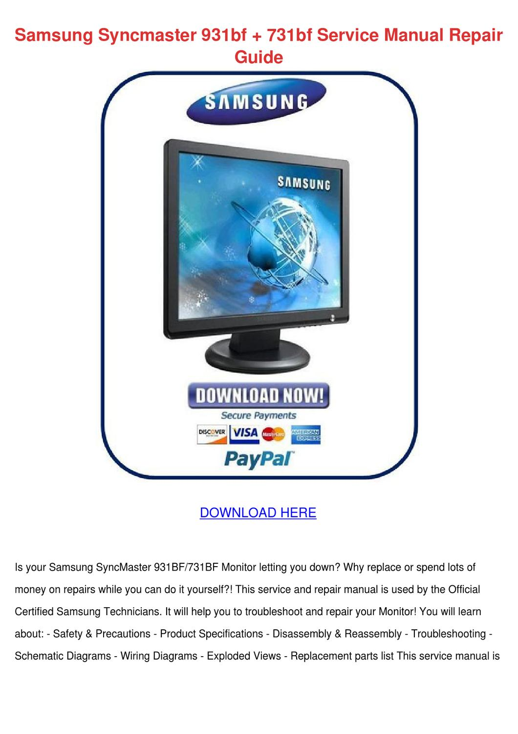 Samsung Syncmaster 931bf 731bf Service Manual by Letha Barreneche ...