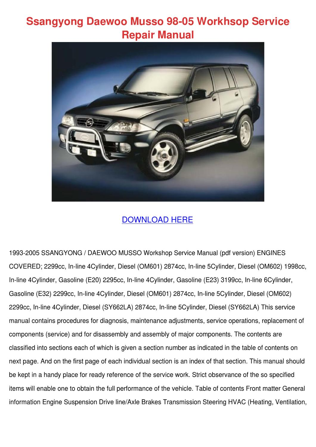 Daewoo Cielo Workshop Manual Free Download Wiring Library 1997 Ssangyong Musso 98 05 Workhsop Service By Letha Barreneche Issuu