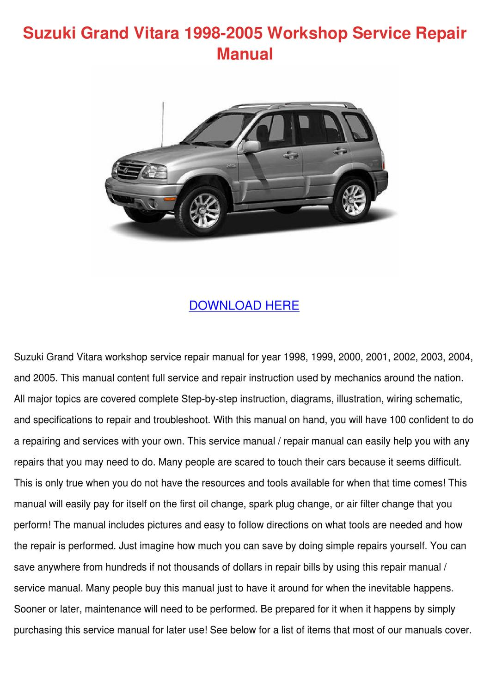Suzuki Grand Vitara 1998 2005 Workshop Servic by Delphine Doehring - issuu