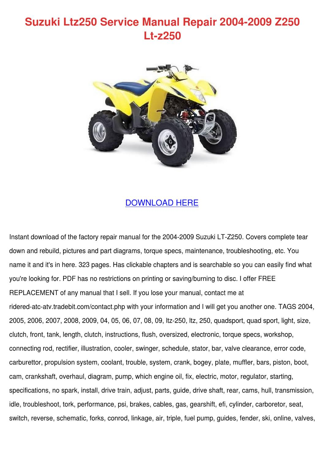 Suzuki Ltz250 Service Manual Repair 2004 2009 by Delphine Doehring - issuu