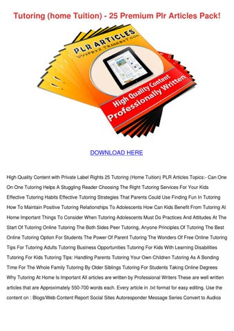 Tutoring Home Tuition 25 Premium Plr Articles by Delphine Doehring
