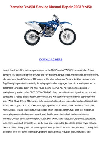 Yamaha Yz450f Service Manual Repair 2003 Yz45 by Delphine
