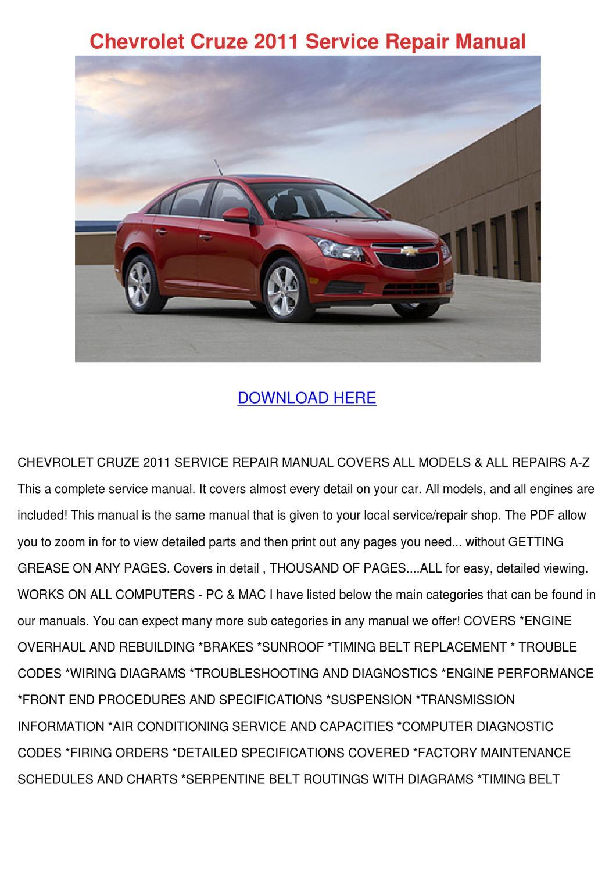 Chevrolet Cruze 2011 Service Repair Manual By Ashly