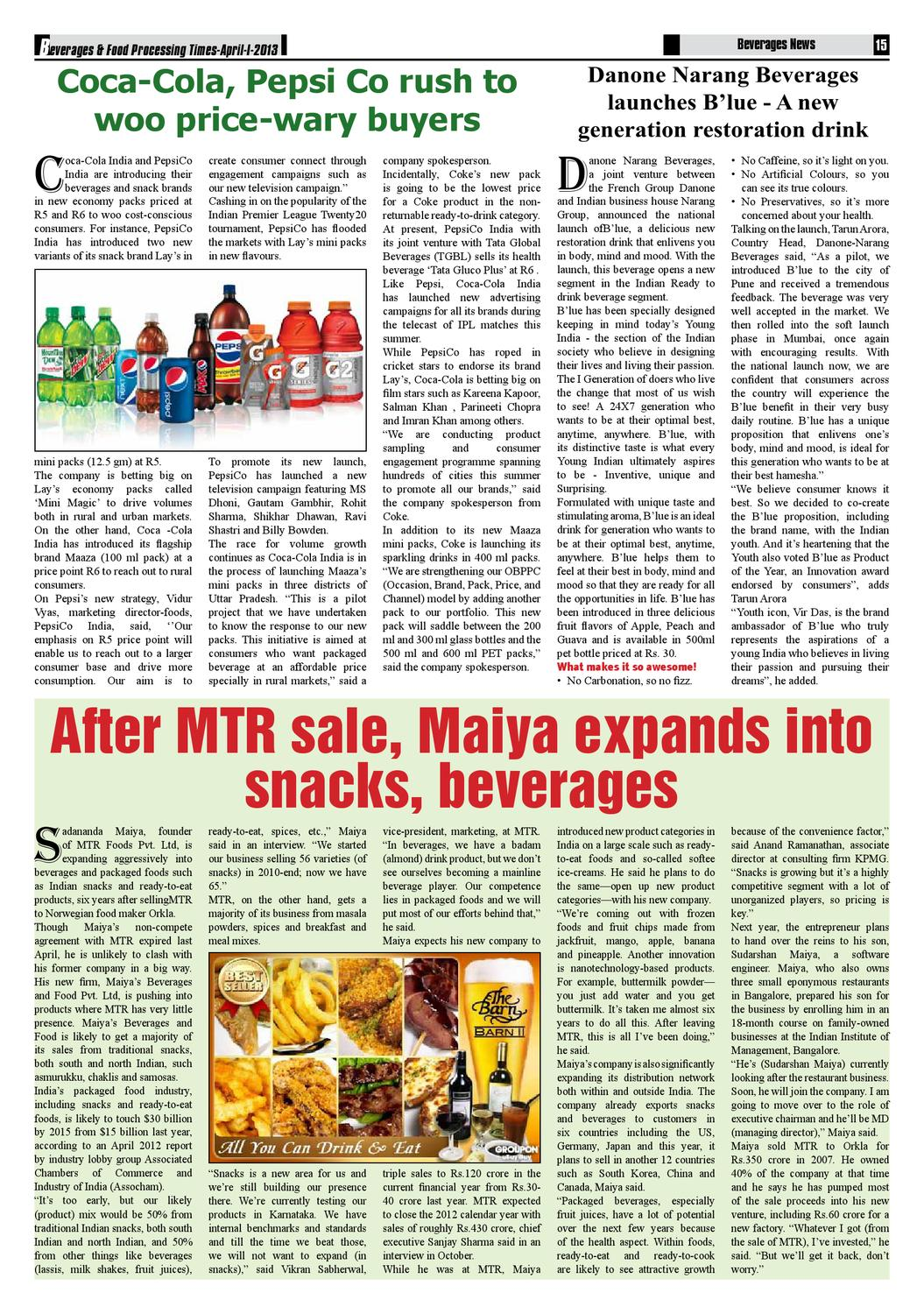 Beverages & Food Processing Times Apr'13 (I) by Advance Info